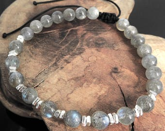 Protection Stones Meditation Labradorite Sterling Silver 925 Nugget Beads Adjustable Braided Bracelet Soothing OM Strength Awareness Health