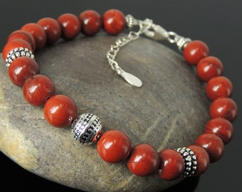 Red Jasper Yoga Meditation Bracelet 8mm Gemstones Healing Spiritual Detox Protection Genuine Sterling Silver Energy Sphere Bead Clasp Chain