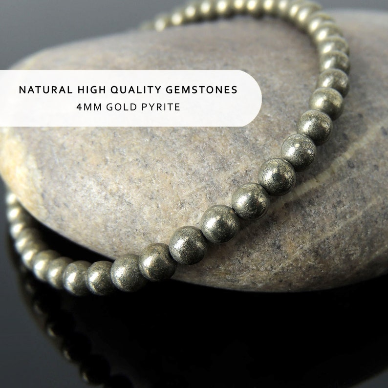 Unisex Casual Wear Yoga Gemstone Bracelet Natural Pyrite Fool/'s Gold Small 4mm Beads Healing Protection S925 Sterling Silver Clasp Chain