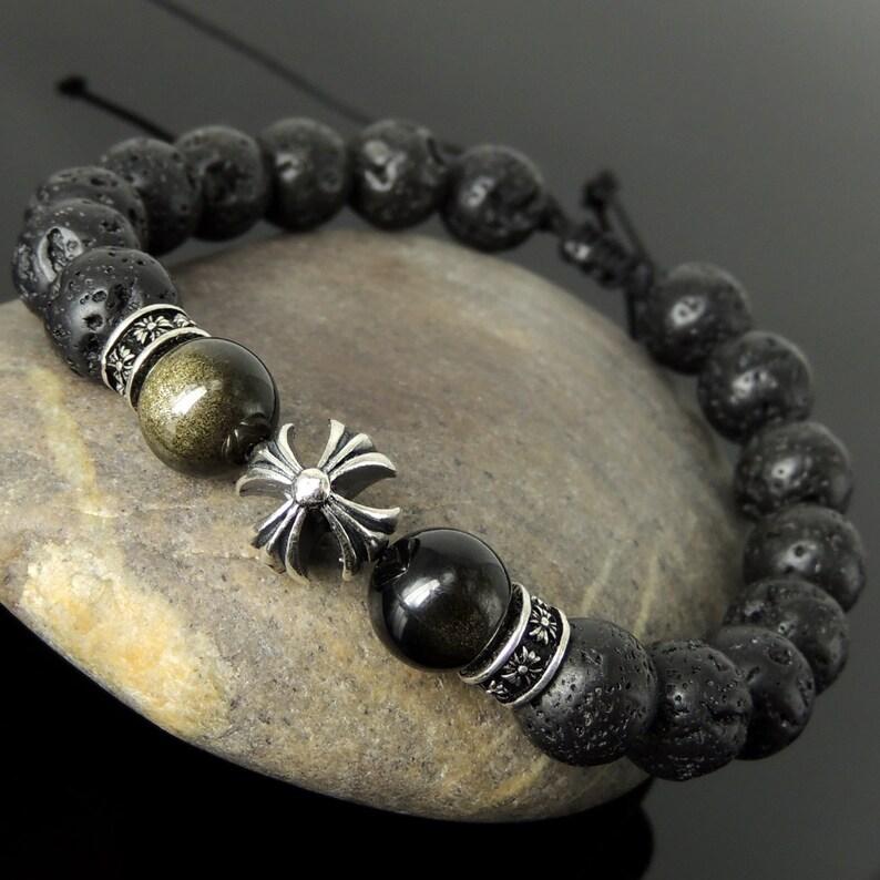 Adjustable Braided Healing Cross Bracelet Pattern Design Natural Lava Rock Golden Obsidian 10mm Protection Stone Genuine 925 Sterling Silver