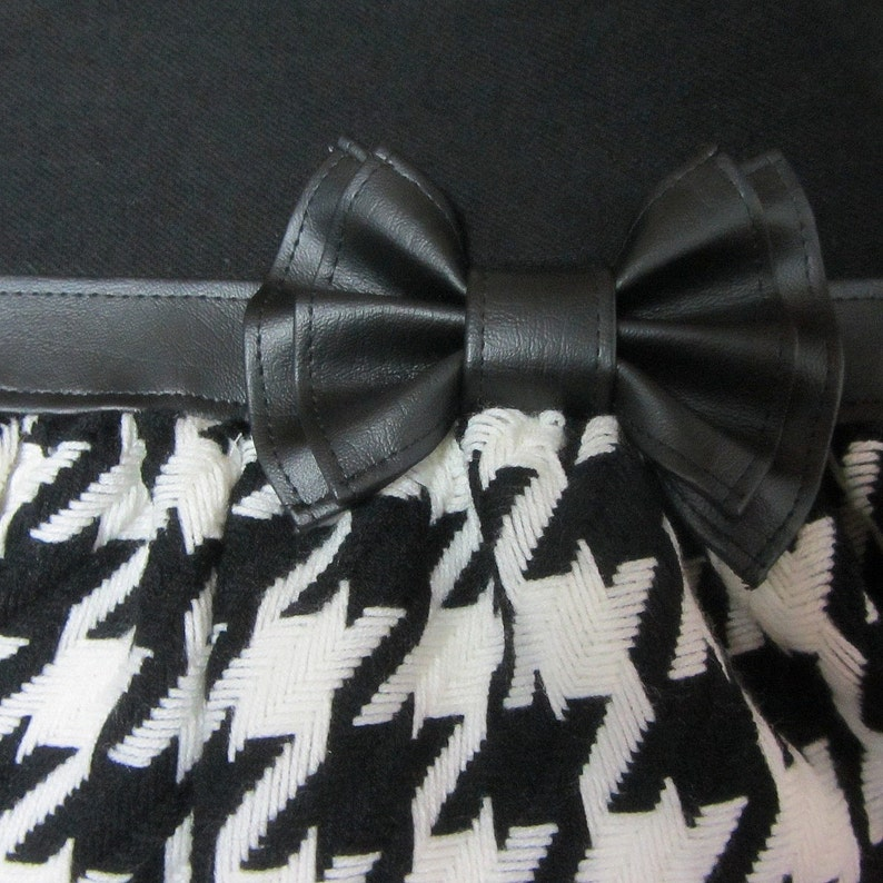 Black and white houndstooth tote bag and faux leather bow by Loli Crossbody big bag with adjustable strap.