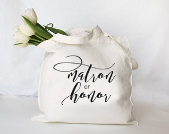 Personalized Matron of Honor Tote, Custom Bridesmaid Bag, Personalized Maid of Honor Bag, Custom Tote Bag, Personalized Wedding Party Bag