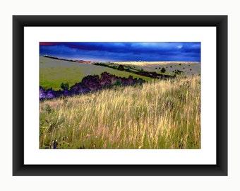 French landscape print, colour enhanced