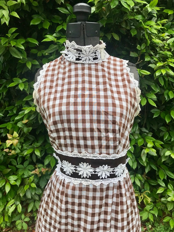 1970s Handmade Prairie Gingham Bohemian Maxi Dress