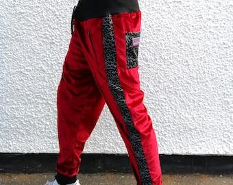 9eff7868c1f08 JACKFRUIT Deluxe Velvet Loungers - Red - Unisex Velour Tracksuit Crazy  Pattern Festival Fresh Prince Lycra Boho Aztec Party Shiny Trousers