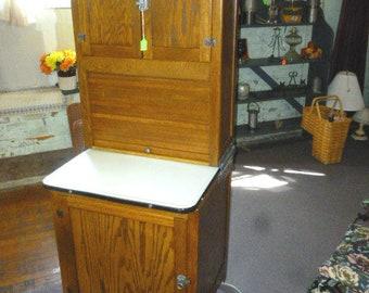 Antique Oak Hoosier Cabinet 1/2 size 25  wide refinished 1900u0027s & Oak hoosier cabinet | Etsy