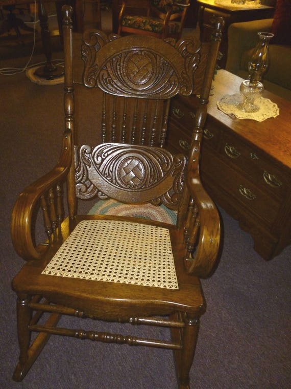image 0 - Antique Oak Rocking Chair Pressed Back Bentwood Arms Etsy