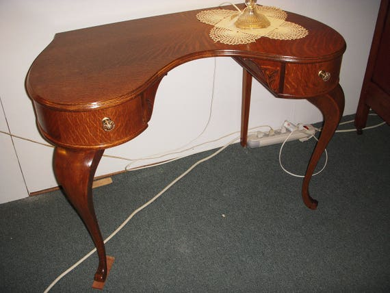 image 0 - Antique Oak Vanity Kidney Shape Two Drawer 1900's Dresser Etsy