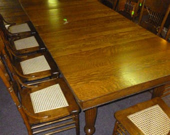 Antique Oak Table Extension with 6 leaves farm table quartersawn tiger 1900's refinished