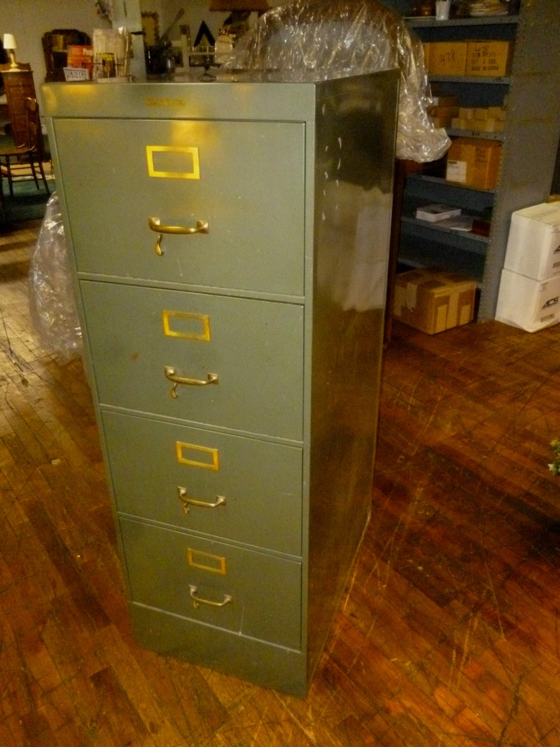 Industrial File Cabinet Shaw Walker Metal 4 Drawer Legal Size