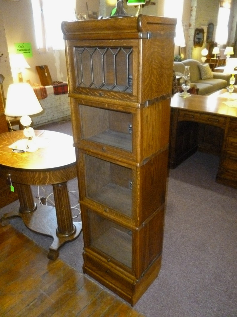 Antique Oak Bookcase stacking, barrister Macey co  1/2 size refinished  restored 1900's