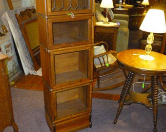 Antique Oak stacking Bookcase Barrister Lawyers Macey refini 1900's