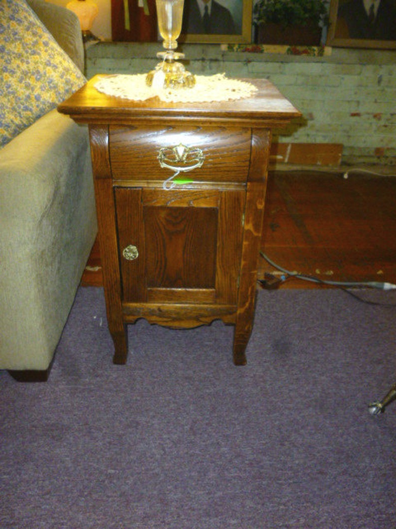 Antique Oak Nightstand end table, refinished 1900's washstand