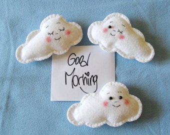 Felt Clouds Fridge Magnets - cute magnets - kitchen decor - refrigerator magnets, set of 3 pieces