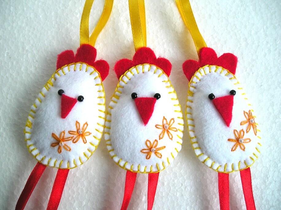 Felt Ornament Chicken Handmade Felt Bird Felt Animals | Etsy