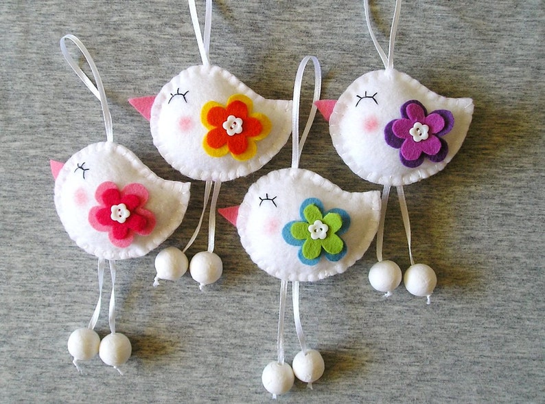 Spring Birds Felt Ornaments Cute Home Decor Funny Etsy