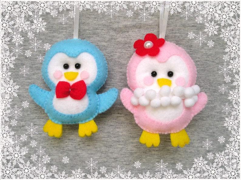 Penguins Animals Felt Ornament Christmas Decor Penguin Etsy