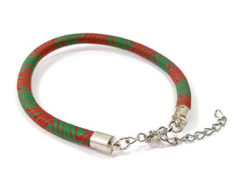 1 rayon red and green 21 cm bracelet