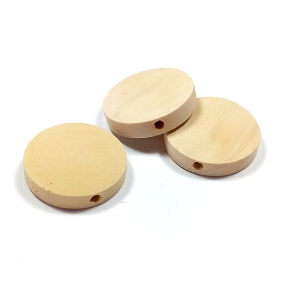 Petit frère Perle plate Perle en bois de 20 mm Naturel