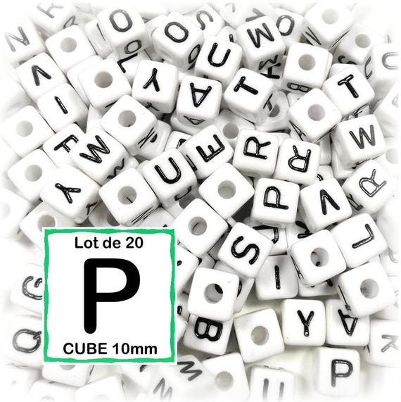Lot de 3 perles Lettre R Perle en bois alphabétique de 10 x 10 mm Blanc
