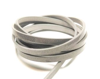 1.15 Mr. grey sparkly 5mm x 2mm leather cord