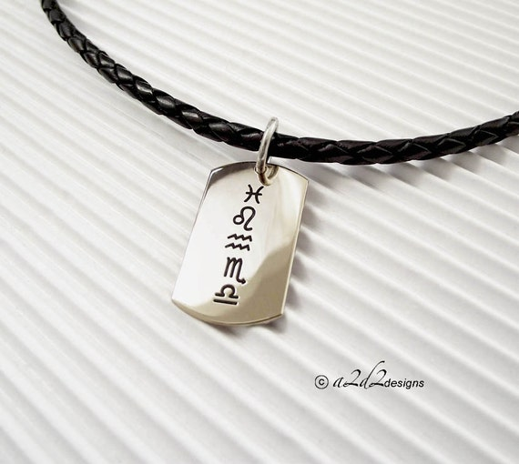 Zodiac Dog Tag Necklace: Men's Personalized Sterling Silver Zodiac Dog Tag