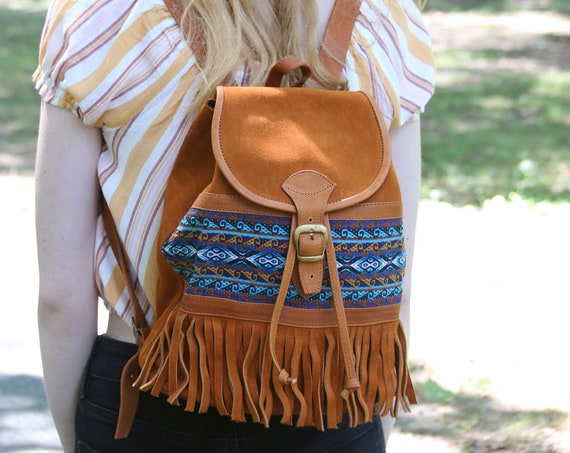 CHUSPA | Leather + Tapestry Backpack, Handcrafted
