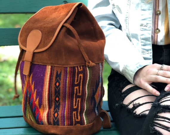 KARA | Leather + Tapestry Backpack, Handcrafted