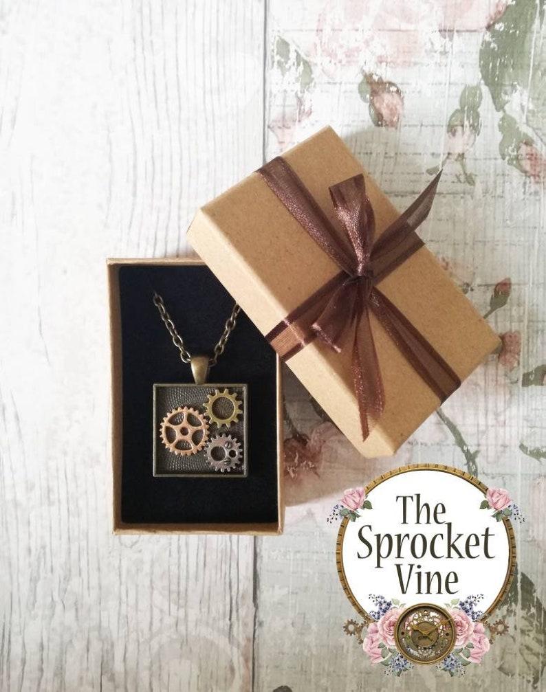 gift for her. steampunk Square Steampunk Pendant with Gift Box steampunk accessories ready to give gift cosplay antique bronze