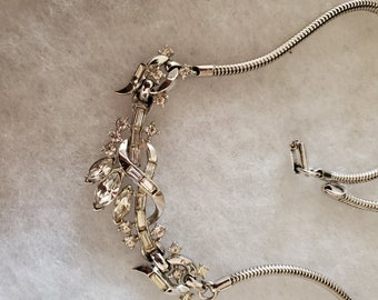 1940s Alfred Philippe for Trifari Pat Pending Rhodium Plated Choker with beautiful Channel Set Baguette Crystals,