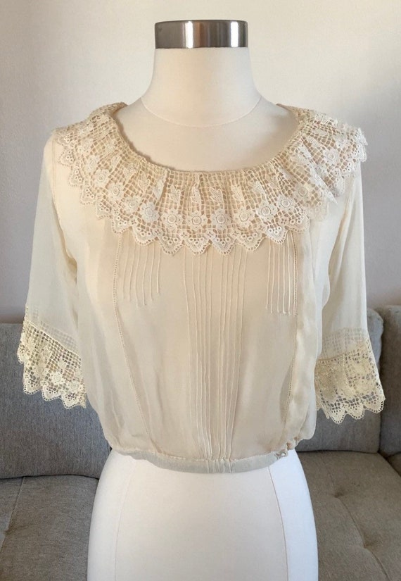 Early 1900s Sheer Blouse Top Ruffled Lace Collar … - image 2