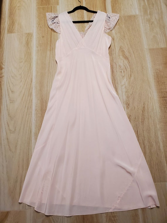 1930s Pink Nightgown/Dress/Lingerie/Bias Gown, So… - image 4