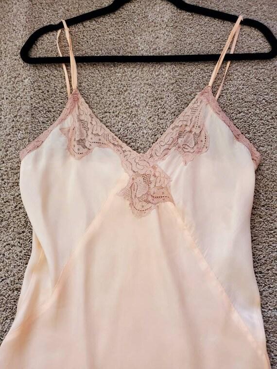 Vtg 30s Silk Peach Slip/Nightgown/Dress, NRA LABE… - image 4
