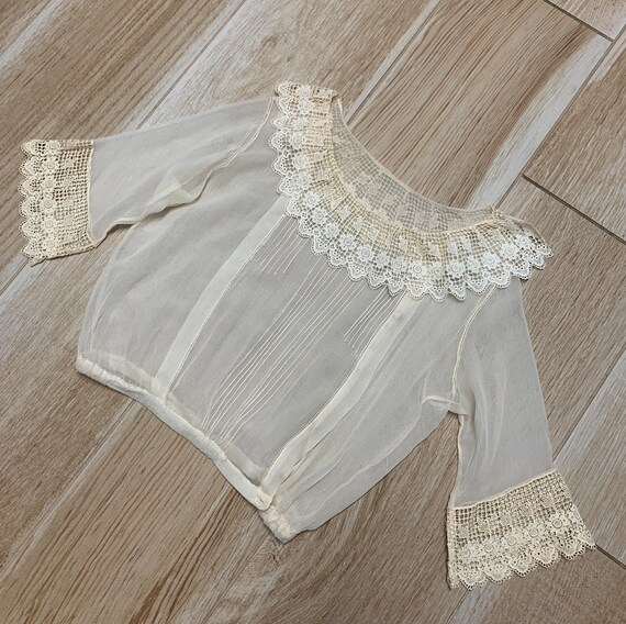 Early 1900s Sheer Blouse Top Ruffled Lace Collar … - image 7