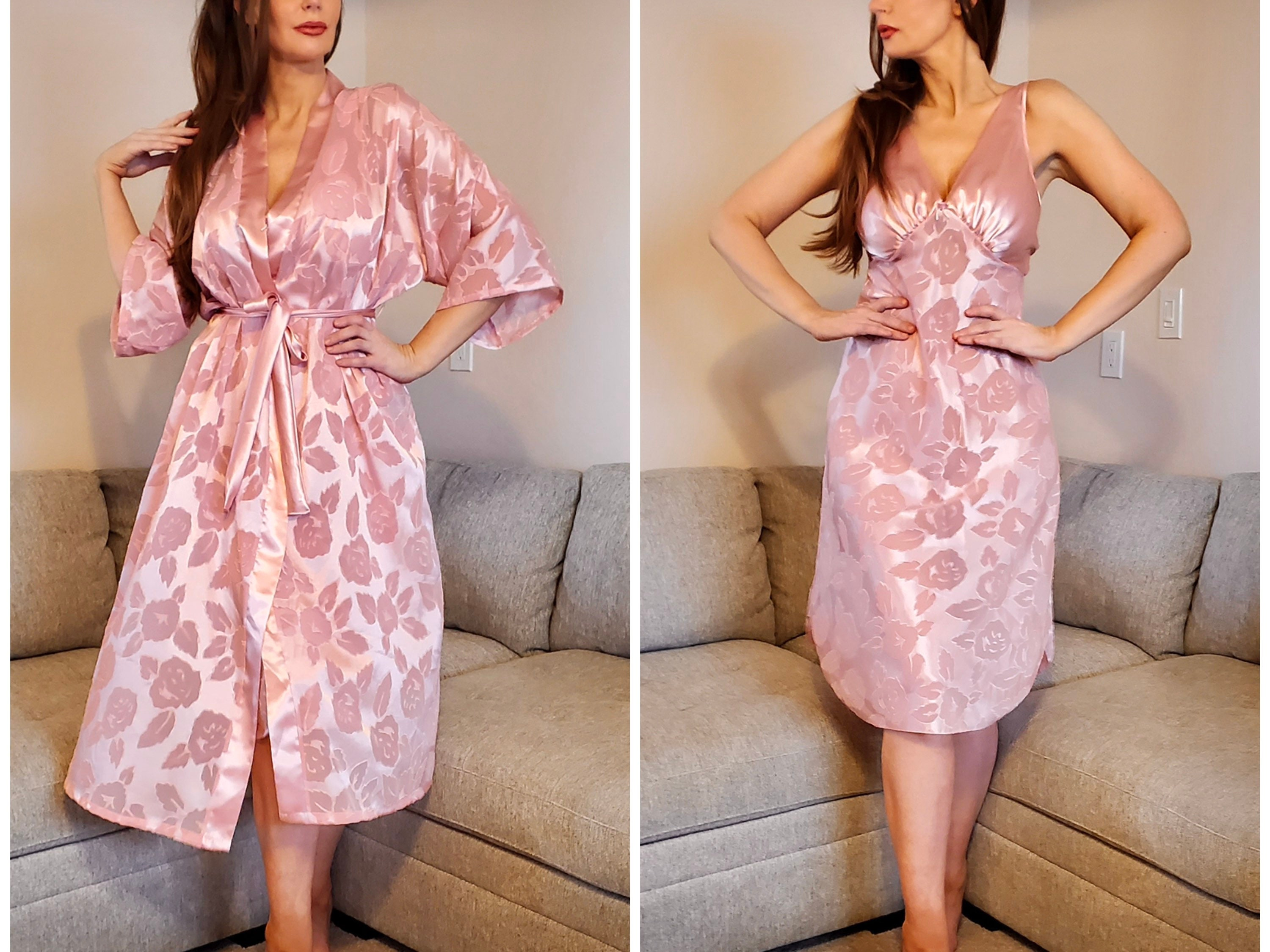 80s Dresses   Casual to Party Dresses Vintage 1980S Nightgown  Robe Set By Lucie Ann Ii Empire Waisted Long Sheer Pink Floral Jacquard Satin, ML, 38, Made in Usa $0.00 AT vintagedancer.com