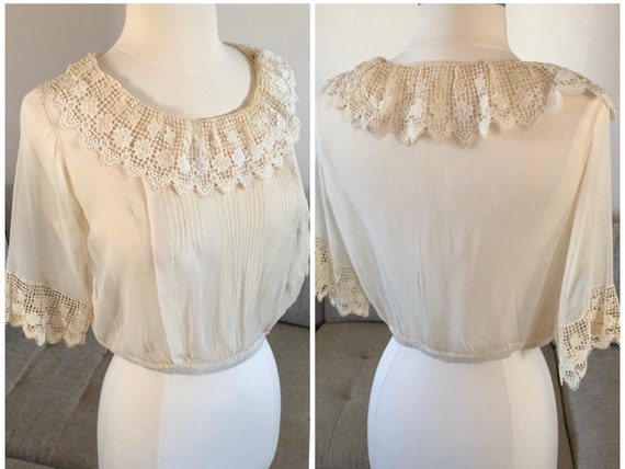 Early 1900s Sheer Blouse Top Ruffled Lace Collar … - image 3