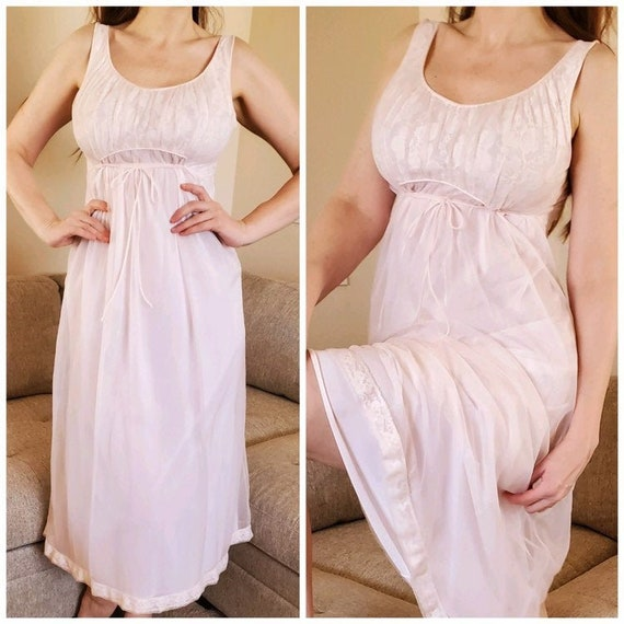 Miss Elaine Chiffon & Lace Pink Grecian Gown XS 19