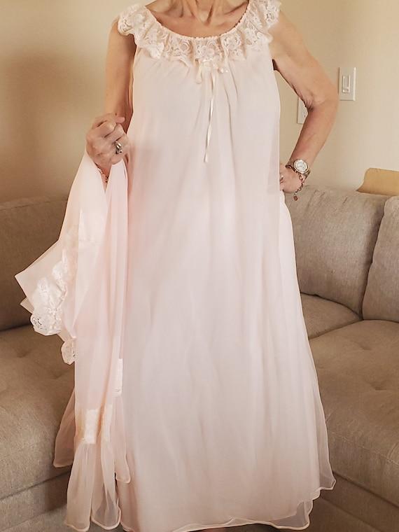 Vintage Pink Shadowline Chiffon Nightgown And Robe