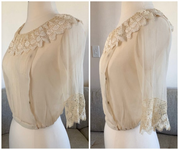 Early 1900s Sheer Blouse Top Ruffled Lace Collar … - image 4