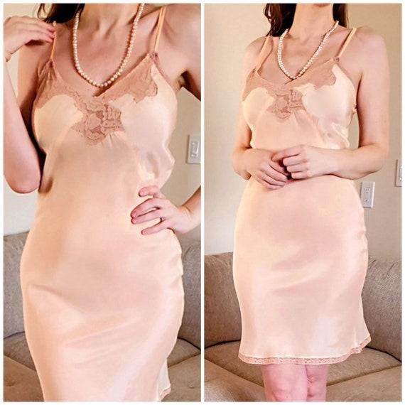 Vtg 30s Silk Peach Slip/Nightgown/Dress, NRA LABEL
