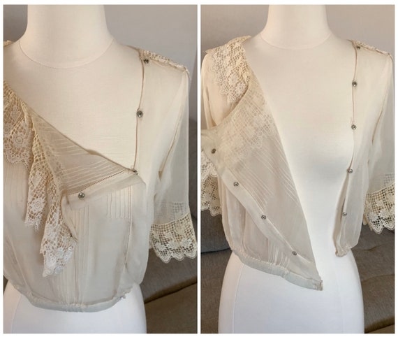 Early 1900s Sheer Blouse Top Ruffled Lace Collar … - image 5