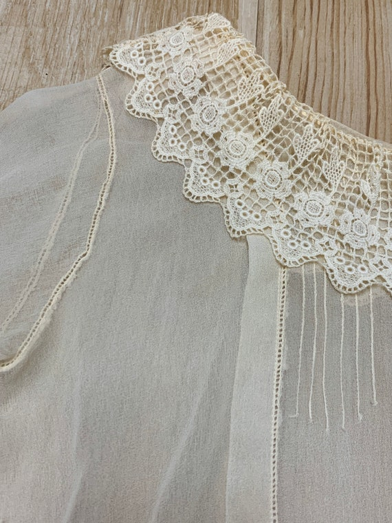 Early 1900s Sheer Blouse Top Ruffled Lace Collar … - image 8