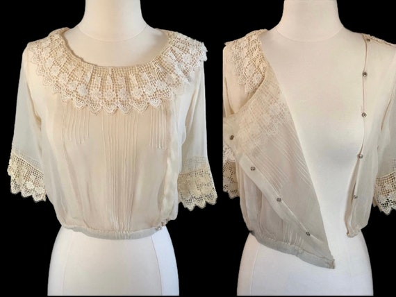 Early 1900s Sheer Blouse Top Ruffled Lace Collar … - image 1