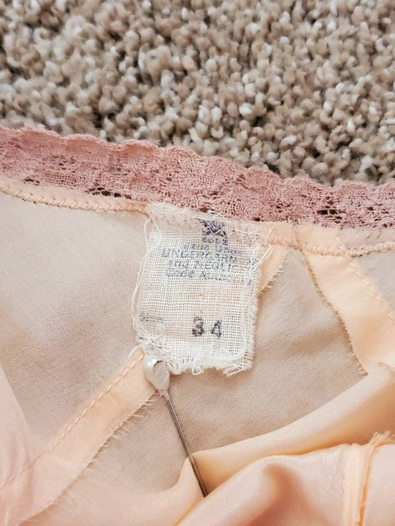 Vtg 30s Silk Peach Slip/Nightgown/Dress, NRA LABE… - image 5