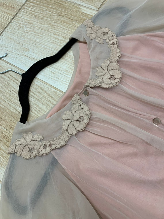 Formfit Rogers peignoir set baby doll nude nightgown robe