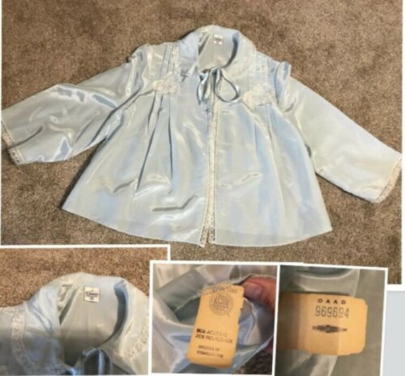 Chase Baby Blue Satin Bed Jacket, 1940s, NWT, Made