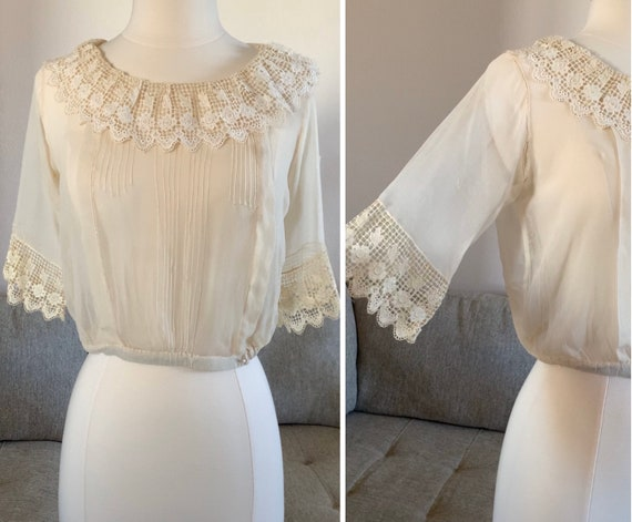 Early 1900s Sheer Blouse Top Ruffled Lace Collar … - image 6