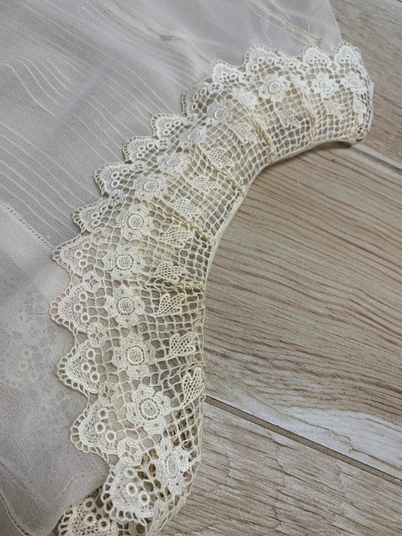 Early 1900s Sheer Blouse Top Ruffled Lace Collar … - image 10