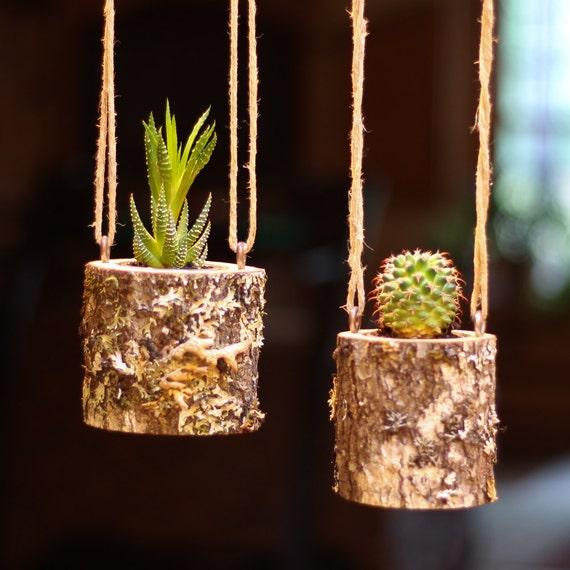 Colgante Jardinera Colgante En Interiores Rusticos Suculentas Etsy - Jardinera-colgante