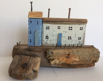 Driftwood Cottages, Driftwood Houses, Coastal Seaside Beach Ornament, White Blue Natural Wood, Nautical, Shabby Chic Unique Gift